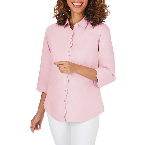 フォックスクラフト レディース シャツ トップス Lily Scallop Detail Non-Iron Shirt Cabana Pink