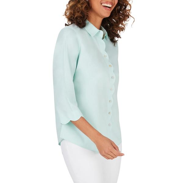 フォックスクラフト レディース シャツ トップス Lily Scallop Detail Non-Iron Shirt Creme De Mint