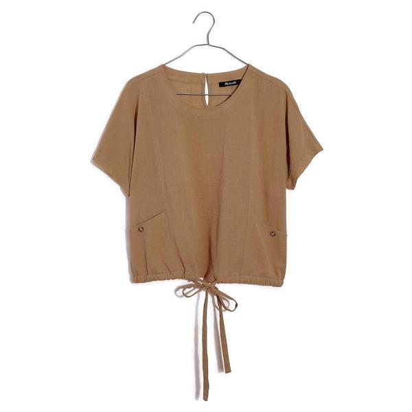 メイドウェル レディース Tシャツ トップス Drawstring Pocket Top Earthen Sand