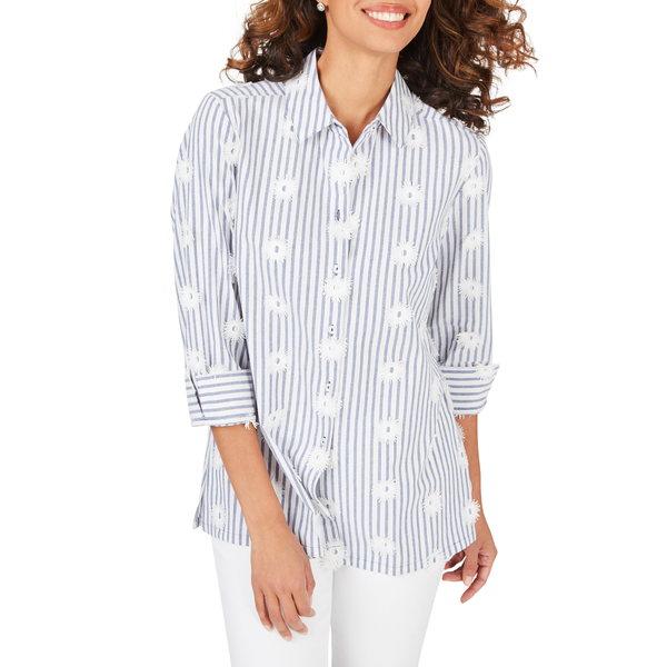 フォックスクラフト レディース シャツ トップス Libby Sea Stripe Embroidered Tunic Shirt Malibu Blue
