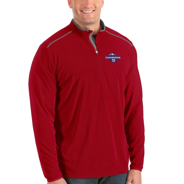 アンティグア メンズ ジャケット&ブルゾン アウター Washington Nationals Antigua 2019 World Series Champions Big & Tall Glacier Quarter-Zip Pullover Jacket Red
