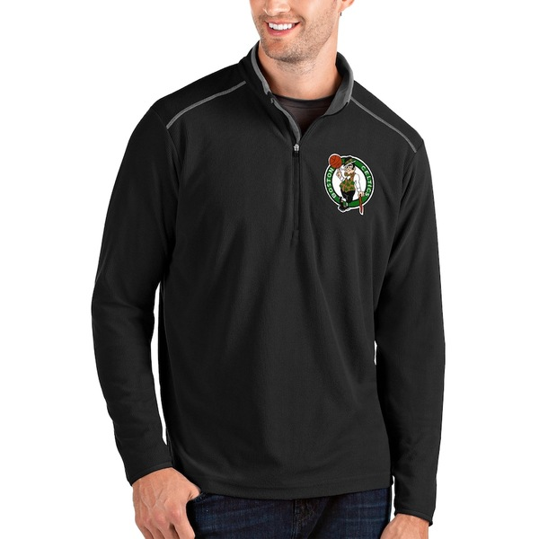 アンティグア メンズ ジャケット&ブルゾン アウター Boston Celtics Antigua Glacier Quarter-Zip Pullover Jacket Black/Gray