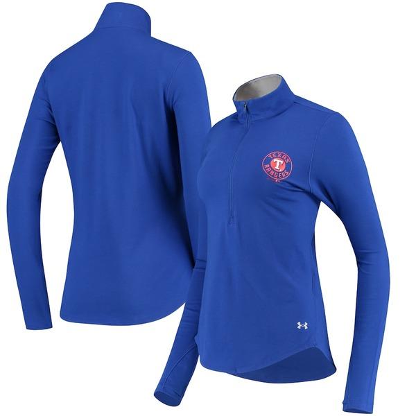 アンダーアーマー レディース ジャケット&ブルゾン アウター Texas Rangers Under Armour Women's Charged Cotton Half-Zip Pullover Jacket Royal
