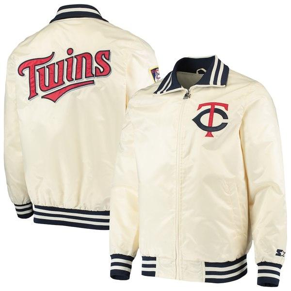 スターター メンズ ジャケット&ブルゾン アウター Minnesota Twins Starter The Captain II Full-Zip Jacket Cream