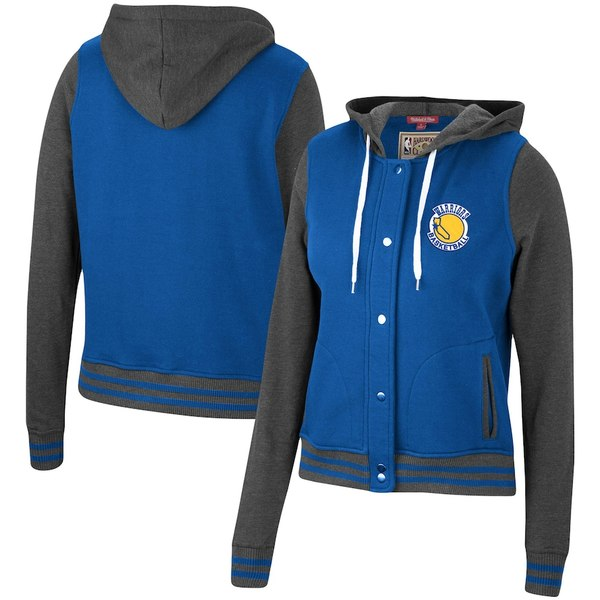 ミッチェル&ネス レディース ジャケット&ブルゾン アウター Golden State Warriors Mitchell & Ness Women's Hardwood Classics Varsity Fleece Full Snap Hoodie Jacket Royal
