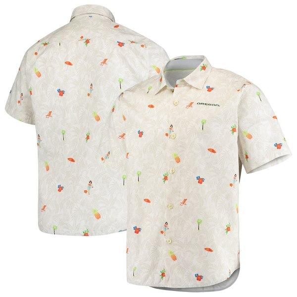 トッミーバハマ メンズ シャツ トップス Oregon Ducks Tommy Bahama College Beach-Cation Button-Up Shirt White