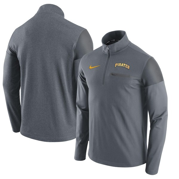 ナイキ メンズ ジャケット&ブルゾン アウター Pittsburgh Pirates Nike Elite Half-Zip Pullover Jacket Gray