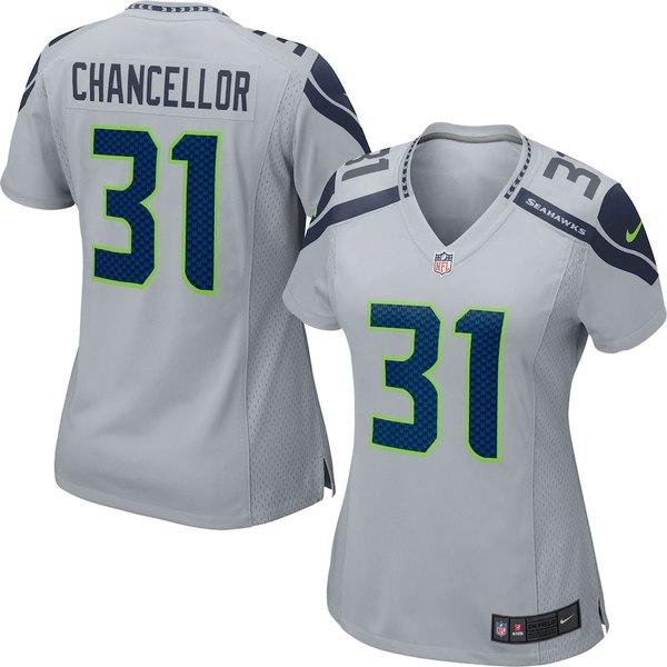 ナイキ レディース シャツ トップス Kam Chancellor Seattle Seahawks Nike Women's Game Jersey Gray