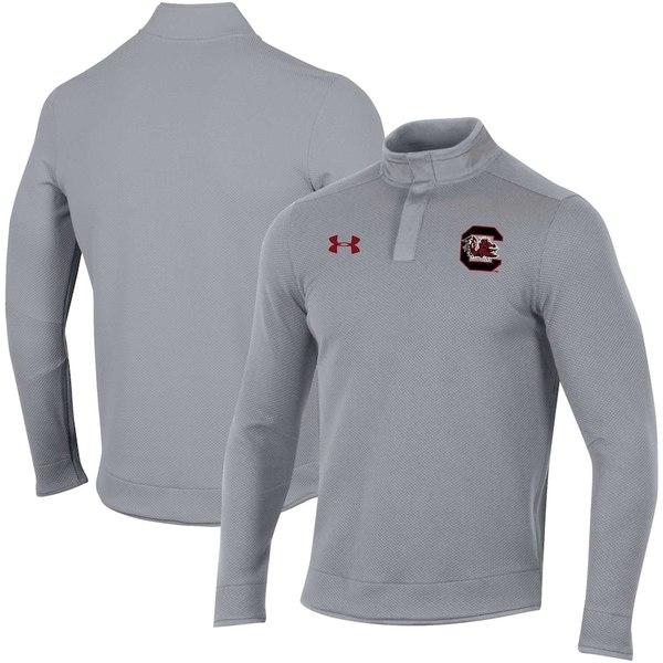 アンダーアーマー メンズ ジャケット&ブルゾン アウター South Carolina Gamecocks Under Armour Knit Quarter-Snap Jacket Gray