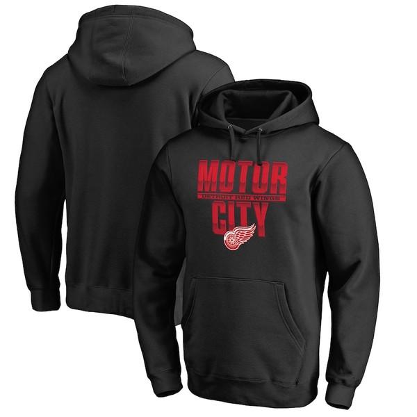 ファナティクス メンズ パーカー・スウェットシャツ アウター Detroit Red Wings Fanatics Branded Hometown Collection Pullover Hoodie Black