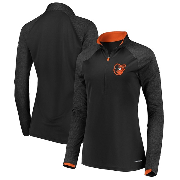 マジェスティック レディース ジャケット&ブルゾン アウター Baltimore Orioles Majestic Women's Extremely Clear Cool Base Raglan 1/2-Zip Jacket Black