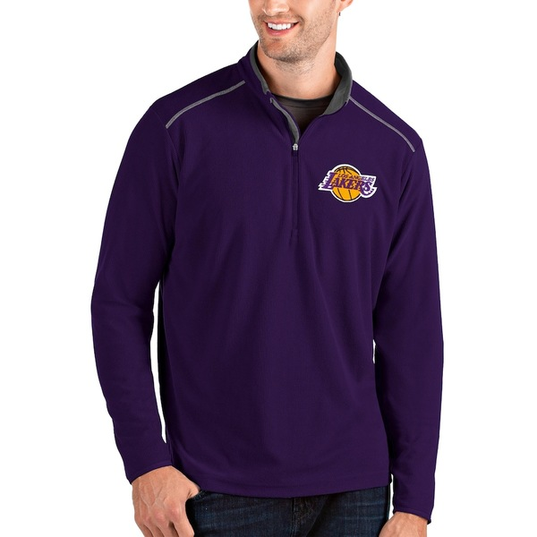 アンティグア メンズ ジャケット&ブルゾン アウター Los Angeles Lakers Antigua Glacier Quarter-Zip Pullover Jacket Purple/Gray