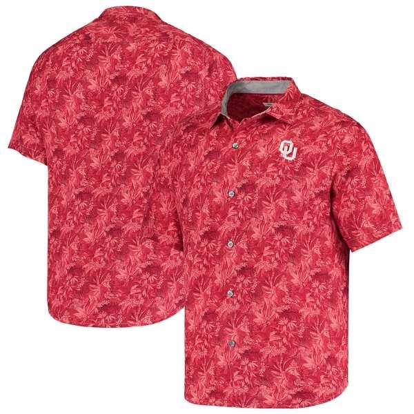 トッミーバハマ メンズ シャツ トップス Oklahoma Sooners Tommy Bahama Sport Jungle Shade Camp ButtonUp Shirt Crimson