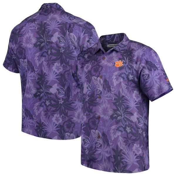 トッミーバハマ メンズ シャツ トップス Clemson Tigers Tommy Bahama Fuego Floral Silk Camp Shirt Purple
