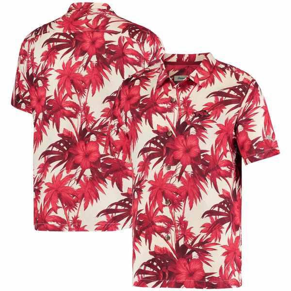 トッミーバハマ メンズ シャツ トップス Arkansas Razorbacks Tommy Bahama Harbor Island Hibiscus ButtonUp Shirt Crimson