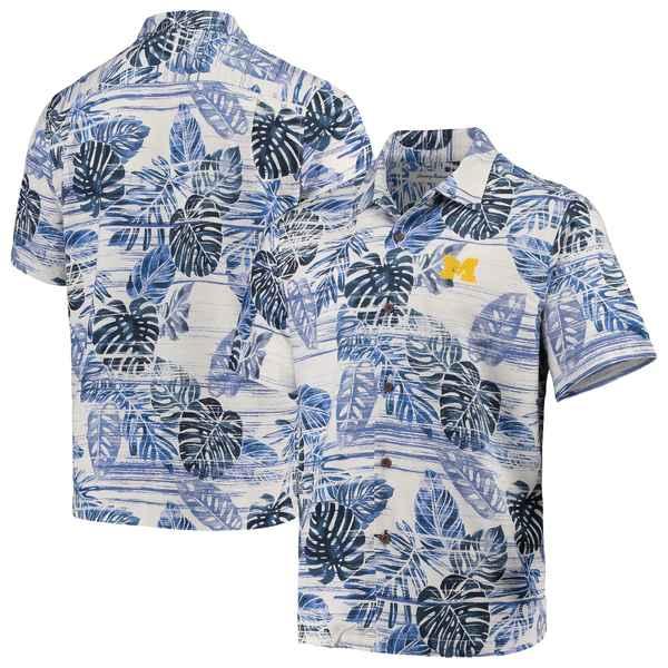 トッミーバハマ メンズ シャツ トップス Michigan Wolverines Tommy Bahama Super Fan Camp Shirt Navy