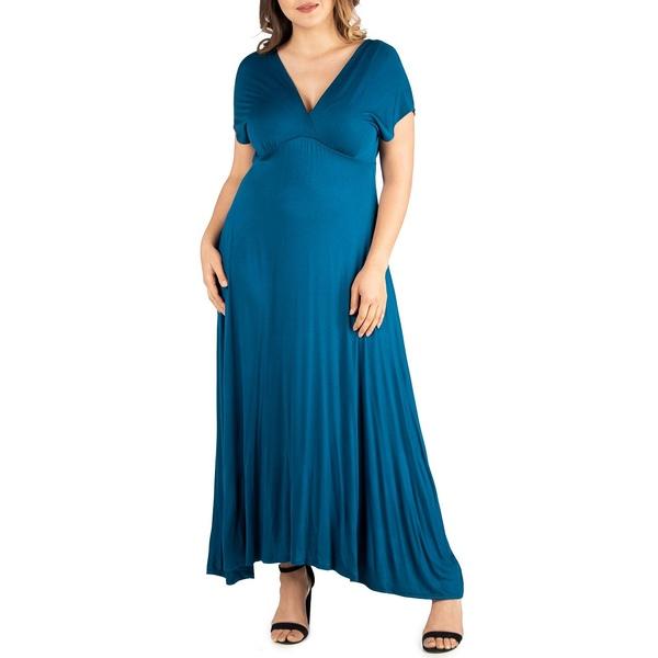 24セブンコンフォート レディース トップス ワンピース Teal 全商品無料サイズ交換 Women's Maxi 誕生日プレゼント Dress Plus 人気の製品 Waist Size Empire