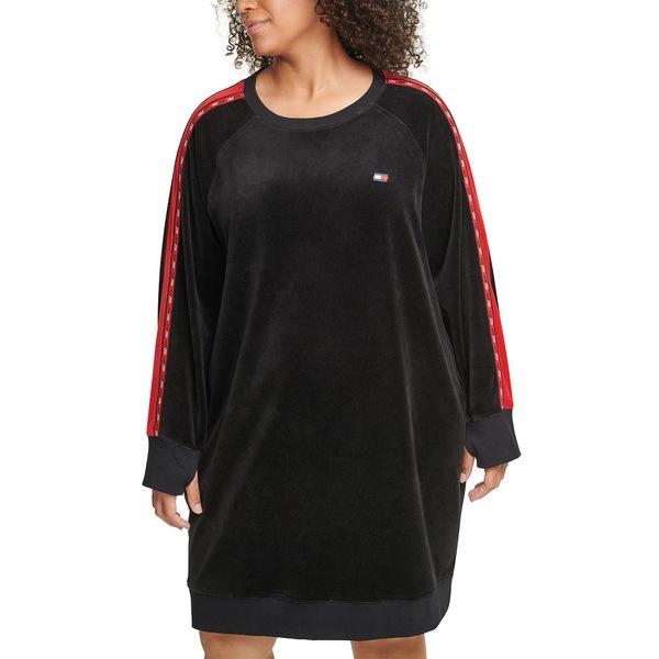 トミー ヒルフィガー レディース トップス SALE ワンピース Black 定番の人気シリーズPOINT ポイント 入荷 Dress Plus Logo-Tape-Trim Velour 全商品無料サイズ交換 Size