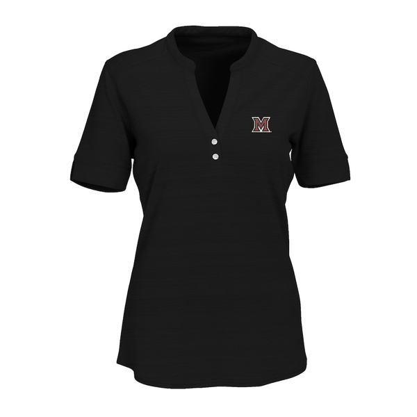 ビンテージアパレル レディース シャツ トップス Miami University RedHawks Women's Strata Textured Henley Shirt Black