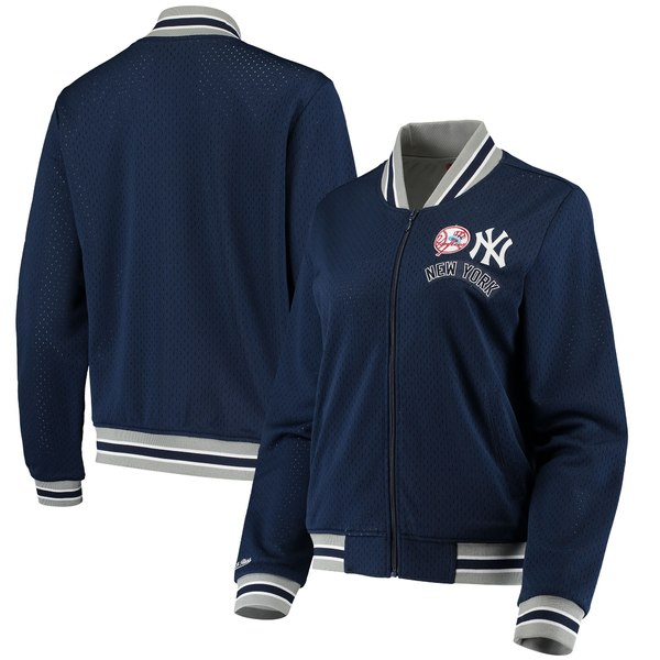 ミッチェル&ネス レディース ジャケット&ブルゾン アウター New York Yankees Mitchell & Ness Women's FullZip Mesh Track Jacket Navy