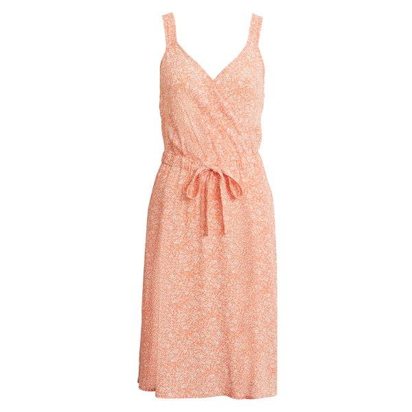 トレジャーアンドボンズ レディース ワンピース トップス Sleeveless Tie Waist Dress Orange- Pink Oxford Floral