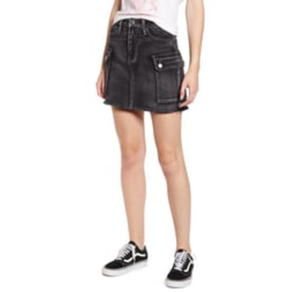 ティンセル レディース スカート ボトムス Washed Utility Cutoff Denim Miniskirt Washed Black