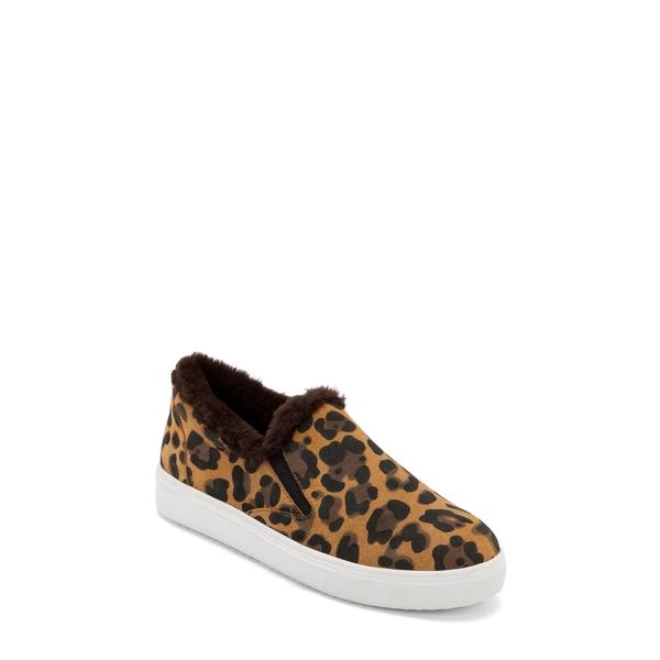 ブロンド レディース スニーカー シューズ Gia Faux Fur Trim Waterproof Slip-On Sneaker Leopard Suede