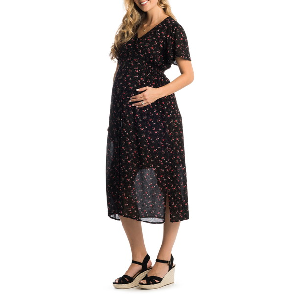 エベリーグレイ レディース ワンピース トップス Ballencia Maternity/Nursing Dress Black Floral