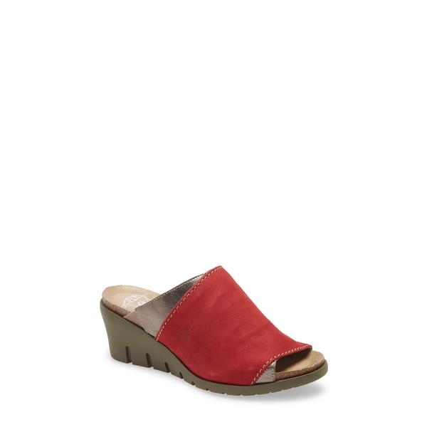 フライロンドン レディース サンダル シューズ Idar Wedge Slide Sandal Lipstick Red/ Bronze Leather