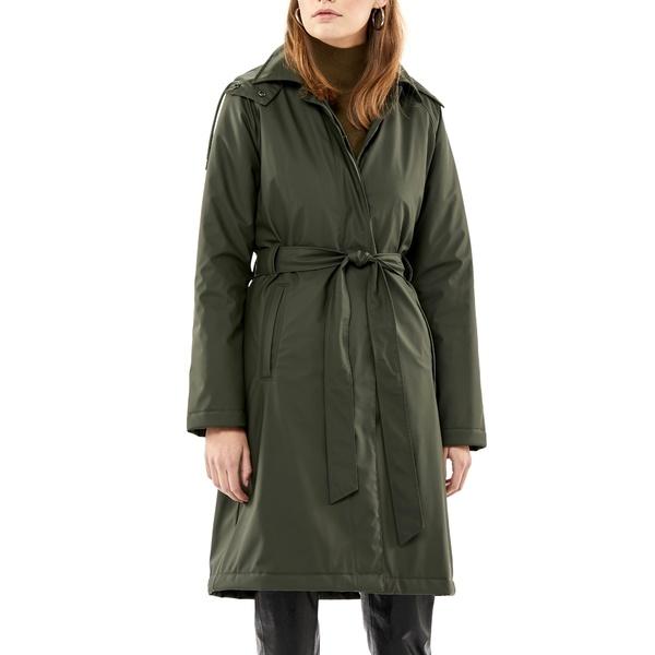 レインズ レディース コート アウター Waterproof Trench Coat with Detectable Hood Green