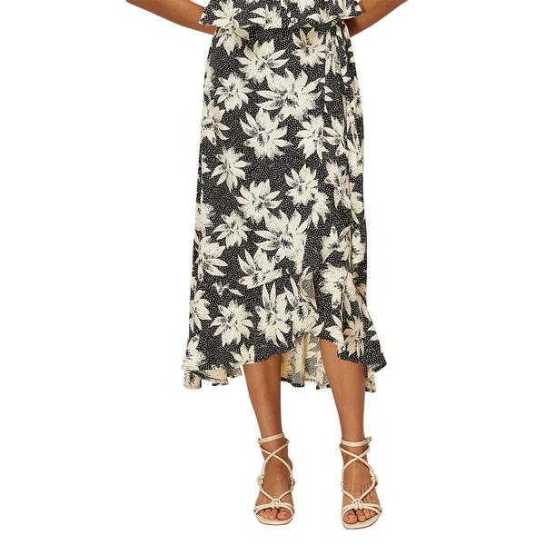 ホイッスルズ レディース スカート ボトムス Starburst Floral Wrap Midi Skirt Black/ White