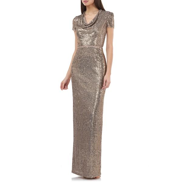 ジェイエスコレクションズ レディース ワンピース トップス Sequin Cowl Neck Column Gown Gold