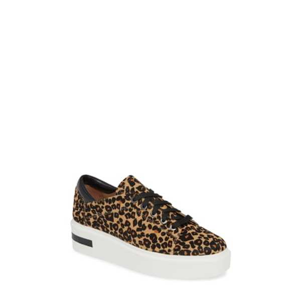 リネアパウロ レディース スニーカー シューズ Kendra Genuine Calf Hair Platform Sneaker Leopard Print Calf Hair