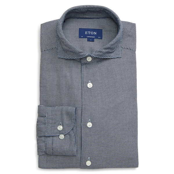 エトン メンズ シャツ トップス Soft Casual Line Slim Fit Houndstooth Button-Up Shirt Blue