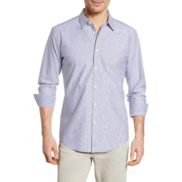 ブガッチ メンズ シャツ トップス Shaped Fit Stripe Button-Up Shirt White