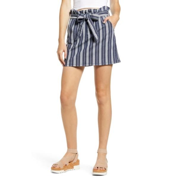 プロスペリティデニム レディース スカート ボトムス Stripe Paperbag Waist Miniskirt White Blue