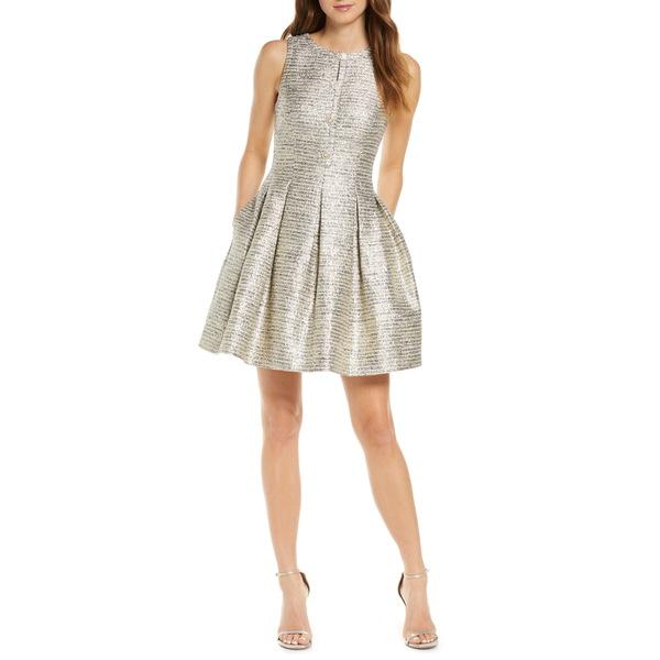 ヴィンスカムート レディース ワンピース トップス Jacquard Fit & Flare Dress Blue/ Ivory