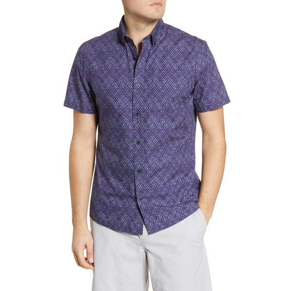 ワンナインオーワン メンズ シャツ トップス Slim Fit Diamond Grid Print Short Sleeve Button-Down Shirt Blue Green Petal Diamonds