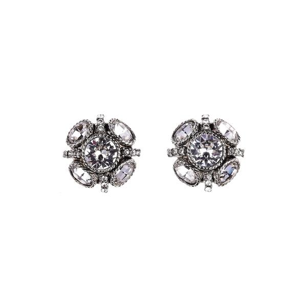 オスカー デ ラ レンタ レディース ピアス&イヤリング アクセサリー Classic Button Stud Earrings Crystal Silver