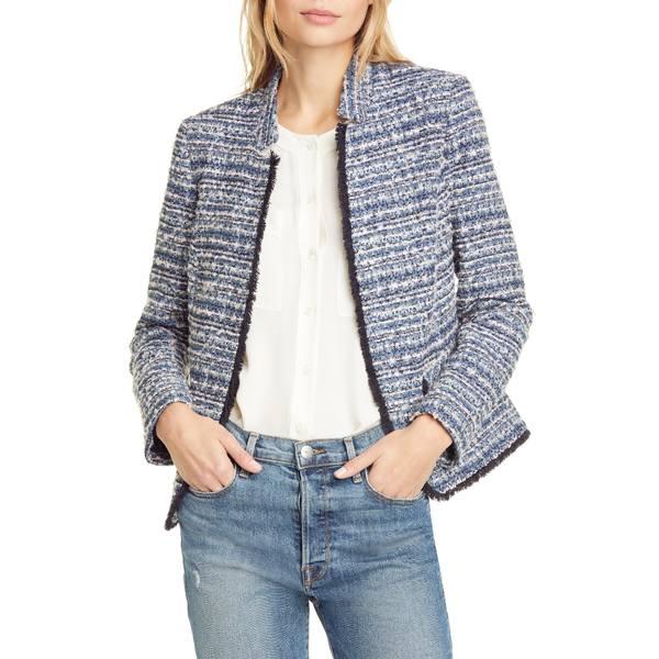 ヘレンベーマン レディース ジャケット&ブルゾン アウター Notch Collar Tweed Jacket Blue/ Pink