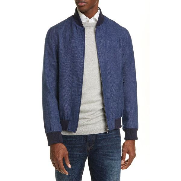 エイドス メンズ ジャケット&ブルゾン アウター Trim Fit Linen & Wool Bomber Jacket Mid Blue