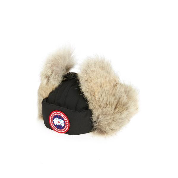 カナダグース メンズ 帽子 アクセサリー Down Fill Aviator Hat with Genuine Coyote Fur Trim Black