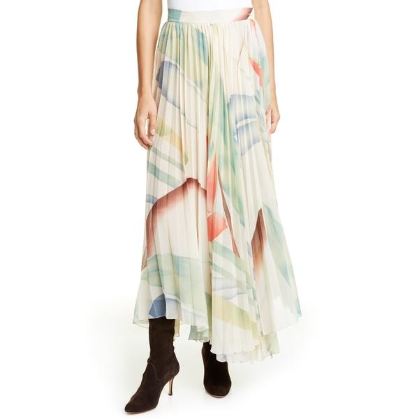 エトロ レディース スカート ボトムス Watercolor Leaf Print Pleated Maxi Skirt White