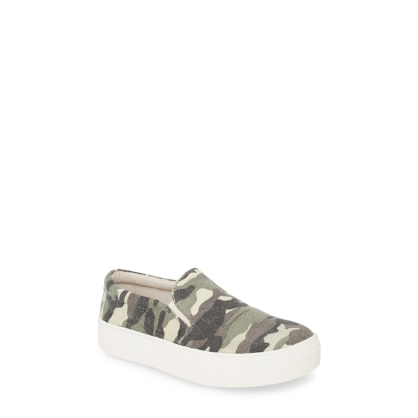 スティーブ マデン レディース スニーカー シューズ Gills Platform Slip-On Sneaker Green Camo