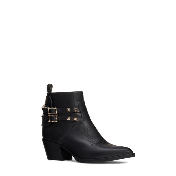ヴァレンティノ ガラヴァーニ レディース ブーツ&レインブーツ シューズ Rockstud Buckle Western Bootie Black Leather