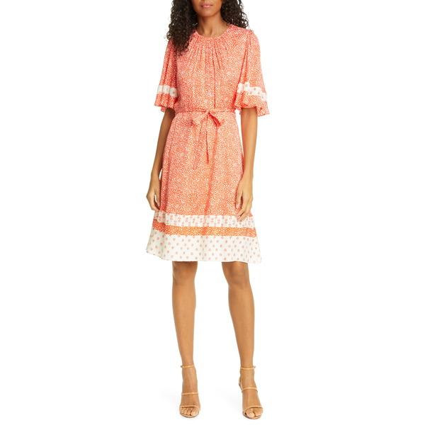 レベッカテイラー レディース ワンピース トップス Floral Jacquard Silk Blend Dress Tomato Combo