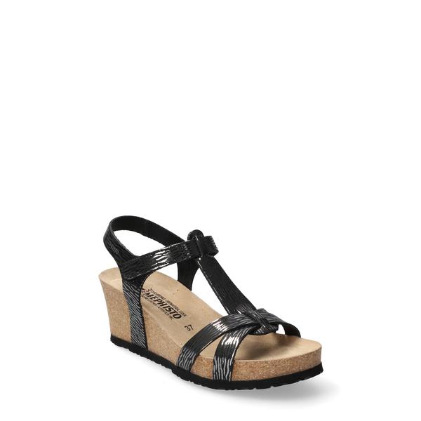 メフィスト レディース サンダル シューズ Liviane Wedge Sandal Black Patent Leather/ Nubuck
