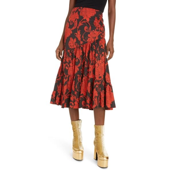 ドリス・ヴァン・ノッテン レディース スカート ボトムス Shiraz Floral Ruffle Tiered Cotton Skirt Red
