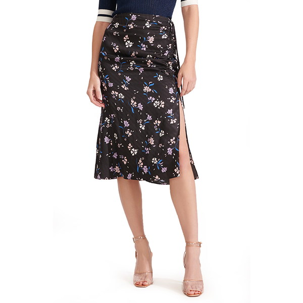 ヴェロニカ ベアード レディース スカート ボトムス Vanity Ruched Floral Print Silk Blend Skirt Black Multi