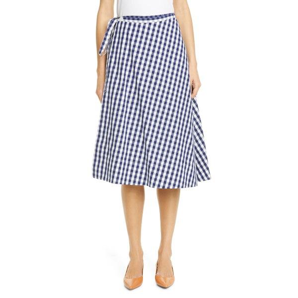 マンスールガブリエル レディース スカート ボトムス Gingham Wrap Skirt Blue / White